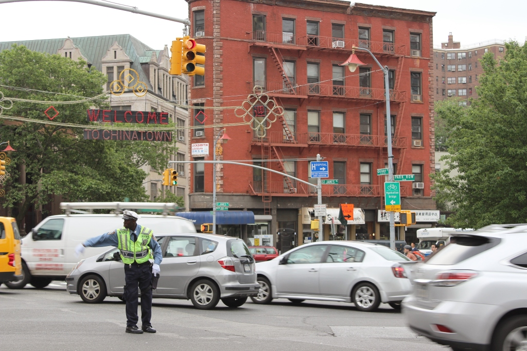 Directing traffic in Chinatown