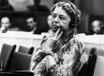 "Eleanor Roosevelt (1884 - 1962) American author, lecturer, ambassador, social activist and wife of the 32nd President Franklin D Roosevelt. A representative to the United Nations, she listens through headphones during a conference at the temporary UN headquarters at Lake Success, New York. President Truman called her ""First Lady of the World"" because of her human rights achievements. (Photo by Keystone/Getty Images)"