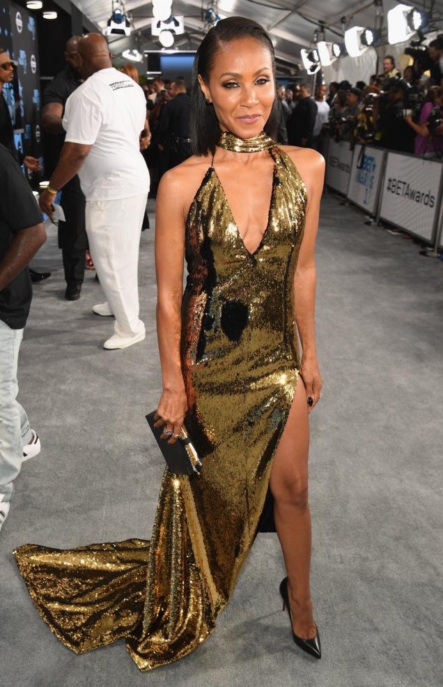 Jada Pinkett Smith, showcased her spectacular body in a golden sequin number.